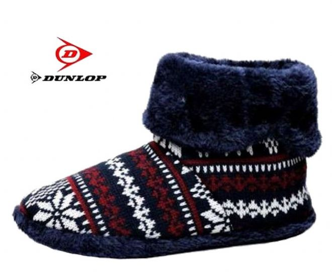 Men's Dunlop Snug Nordic Boot Slippers NAVY